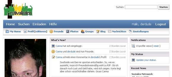 Screenshot der Social Networking Software SocialEngine