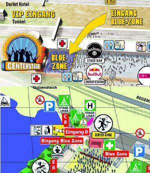 Erdachte Blue-Zone bei Rock Am Ring und im Park